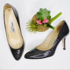 Jimmy Choo Size 7 Dark Gray Snakeskin Heels
